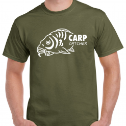 Large Carp Fish With Carp Catcher Text - Carp Fishing Green Or Black T-Shirt With Heat Press Logo -  Ideal Gift For Any Fisherman