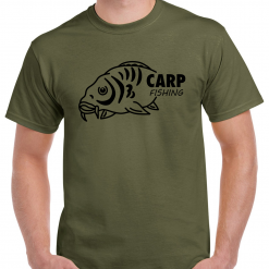 Large Carp Fish With Carp Fishing Text - Carp Fishing Green Or Black T-Shirt With Heat Press Logo -  Ideal Gift For Any Fisherman