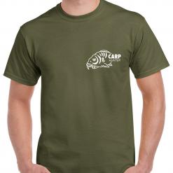 Small Carp Fish With Carp Hunter Text - Carp Fishing Green Or Black T-Shirt With Heat Press Logo -  Ideal Gift For Any Fisherman