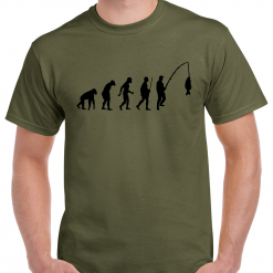 Evolution Of A Fisherman. - Carp Fishing Green Or Black T-Shirt With Large Heat Press Logo -  Ideal Gift For Any Fisherman