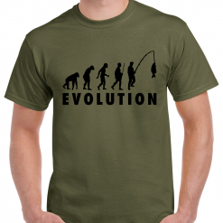 Evolution Of A Fisherman With Text - Carp Fishing Green Or Black T-Shirt With Large Heat Press Logo -  Ideal Gift For Any Fisherman