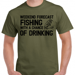 Weekend Forecast Fishing With A Chance Of Drinking - Carp Fishing Green Or Black T-Shirt With Large Heat Press Logo -  Ideal Gift For Any Fisherman