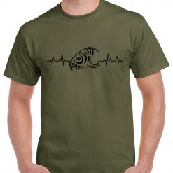 Carp Heartbeat  - Carp Fishing Green Or Black T-Shirt With Heat Press Logo -  Ideal Gift For Any Fisherman