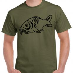 Carp Fishing Green Or Black T-Shirt With Large Heat Press Logo - Large Carp Fish - Ideal Gift For Any Fisherman