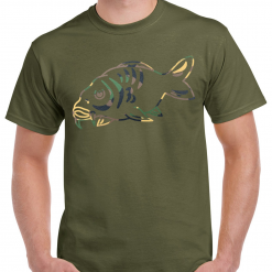 Carp Fishing Green T-Shirt With Large Camouflage Heat Press Logo - Large Carp Fish - Ideal Gift For Any Fisherman