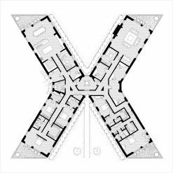Alphabet Floorplan 'X' Art Print