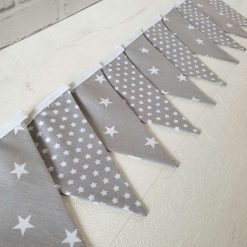Grey and White Star Mixed Bunting, 100% cotton, Grey Bunting, Large & Small Star Bunting, Garland, Fabric Bunting, Kids Bunting, 2.5m