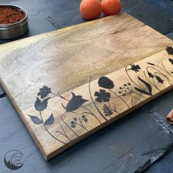Wildflower Chopping Boards, Floral Serving Board, Hand Burned, Wood Chopping Board, Free UK Postage