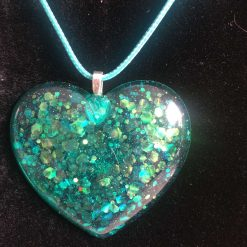 Large heart pendant necklace hot pink