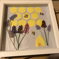Paper quilled bee themed framed artwork