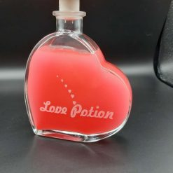 Personalised 200ml Heart Shaped Bottle and  Stopper, with a Love Potion Theme
