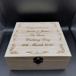 Personalised 28cm Square Wooden Box Wedding Memory Box