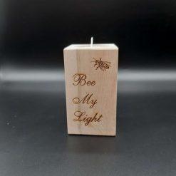 """A """"Bee My Light""""  10cm High Beech Tea Light Holder"""