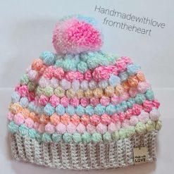 Multicoloured crochet baby hat 6-9 months