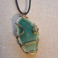 Teal Green Agate Slice Pendant