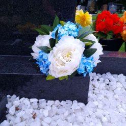 GRAVEPOT - ARTIFICAL FLOWERS - cream white peonies, blue hydrangea & foliage set in a standard size black gravepot