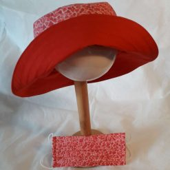 Red and Pink Crushed Ice Reversible Cotton Sun Hat