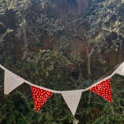 Christmas bunting garland. Home decor  Party. Wall decor.  Red with golden stars. 3 metres