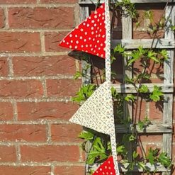 Christmas bunting garland. Home decor  Party. Wall decor.  Red with golden stars. I metre