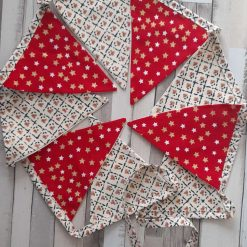 Christmas bunting garland. Home decor  Party. Wall decor.  Red with golden stars. 2 metres
