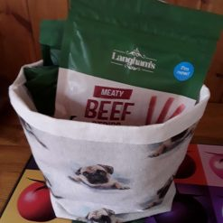 Fully lined storage basket in a lovely pug print
