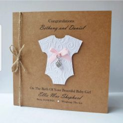 Handmade Personalised New Baby Cards Baby Boy or Baby Girl Card - Heart Charm Design