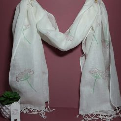 Large handprinted cotton linen scarf with cow parsley design