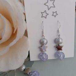 Christmas - Festive and frosty star dangley earrings
