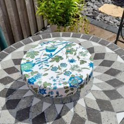 """Bowl cover. Eco friendly, reusable, reversible. Blue flowers. For parties and picnics and every day instead of clingfilm 10"""""""