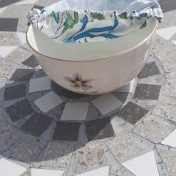 """Bowl cover. Eco friendly, reusable, reversible. Blue flowers. For parties and picnics and your sugar bowl instead of clingfilm. 5"""""""