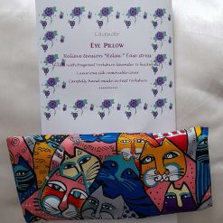 Fragrant Yorkshire lavender eye pillow. Quirky cats.  Pure silk