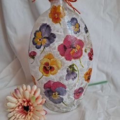 Decoupaged vase decorated with a Pansy design