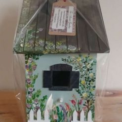 Pink  Cottage Hand painted wooden birdhouse/nesting box