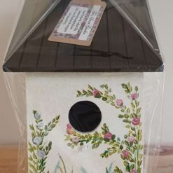 White Cottage Hand painted wooden birdhouse
