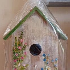 Shabby chic hand painted wooden birdhouse