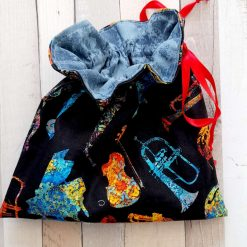 Gift bag/party bag.  Musical instruments print fabric.  Eco friendly reuseable