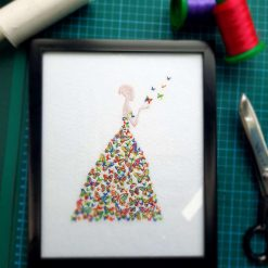 Embroidered Butterfly Lady In Frame