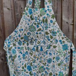 Apron. Handmade.  High quality cotton. Vibrant blue flowers