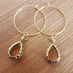 25mm Gold Hoops with Gold Drop Charm