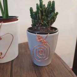 Plant pot decoration large copper swirl