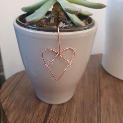 Plant pot decoration small copper heart