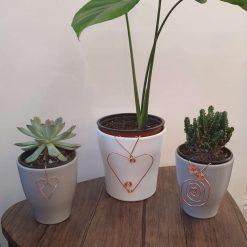 Plant pot decoration large copper heart