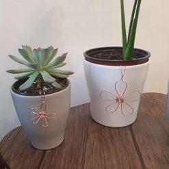 Plant pot decoration copper flower