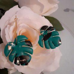 Emerald green, black and gold triangular polymer clay dangley earrings