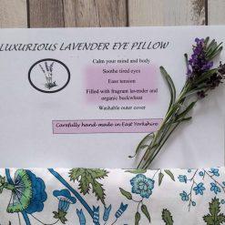 Fragrant Yorkshire lavender eye pillow. Botanical flowers print fabric