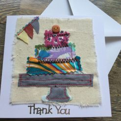 Cake On Stand Thank You Card. Blank inside for Your Own Thank you message.