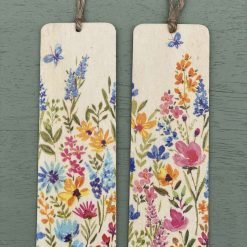 Colourful summer meadow wooden book mark. Floral bookmark gift, floral gift, book accessory.