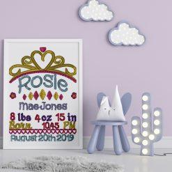 Personalised Crown framed birth keepsake