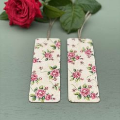 Wild deep pink roses wooden book mark, book mark gift for lover of roses, Floral book mark, book accessory.