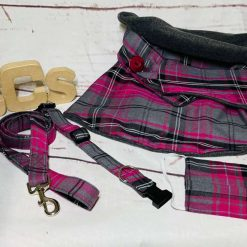 Pink and Grey tartan pattern XS-XXL - Dog Collar, Dog Collars, Puppy Collars, leads and accessories